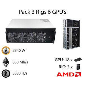 3 Rig Pack With 6 GPU's ETH 558MH/s